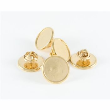 Premium Badge Blank round 16mm gold clutch and clear dome